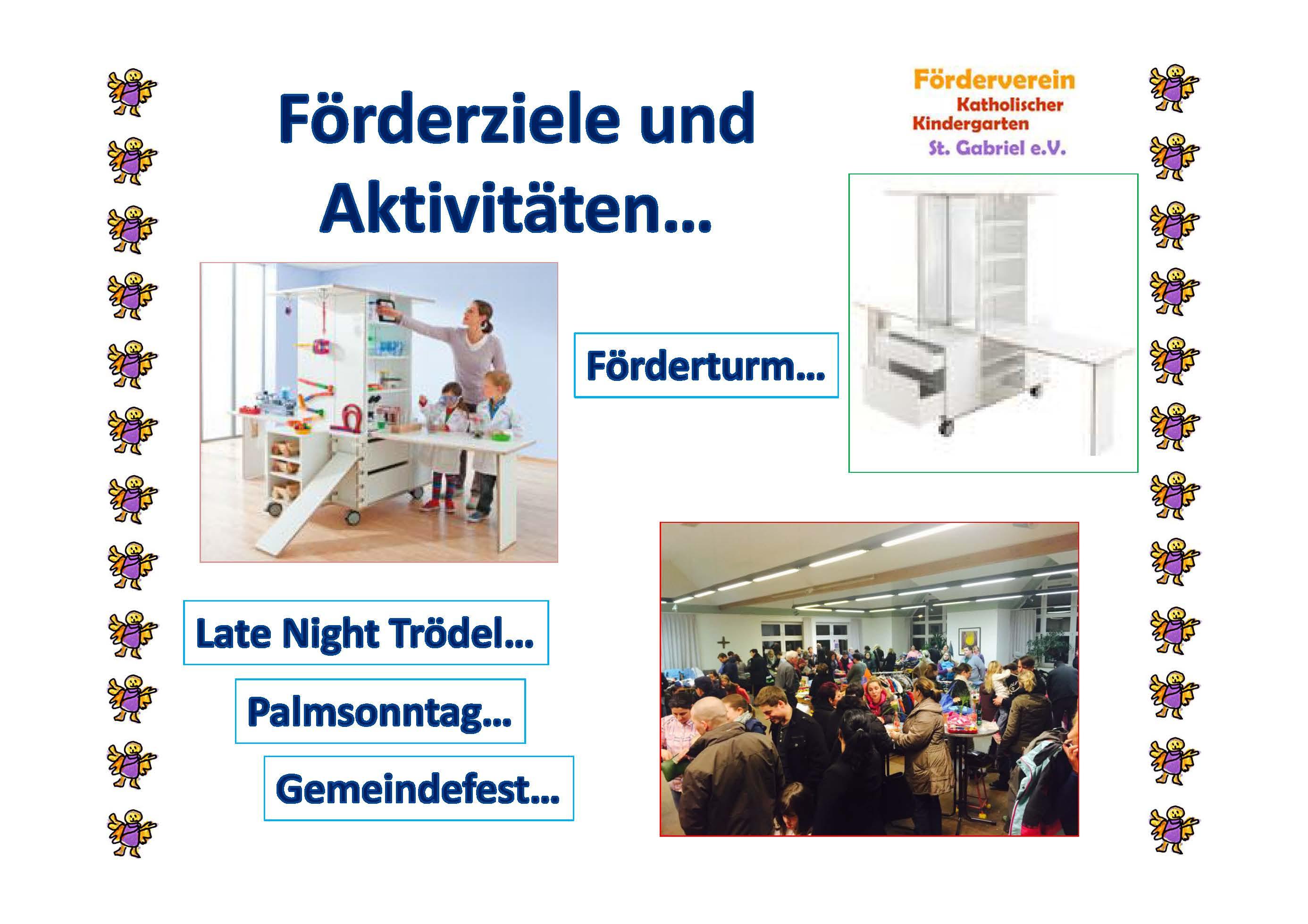 Förderziele und Aktivitäten - Förderturm, Late Night Tödel, Palmsonntag, Gemeindefest